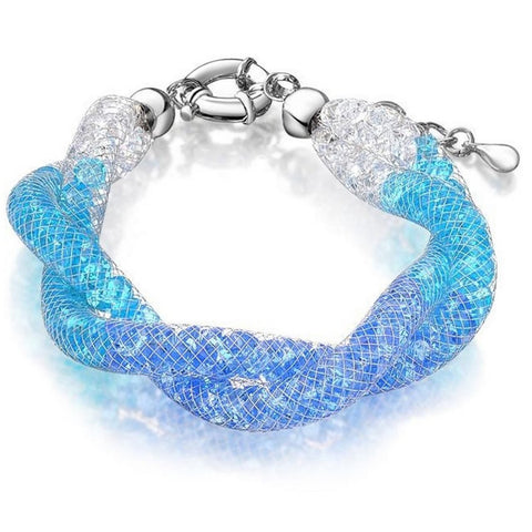 Allie Blue Swarovski Filled Twist Mesh Bracelet - Bella Krystal