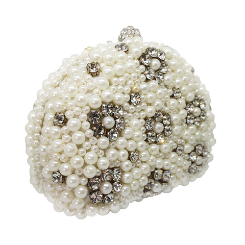 Floral Crystal and Pearl Clutch