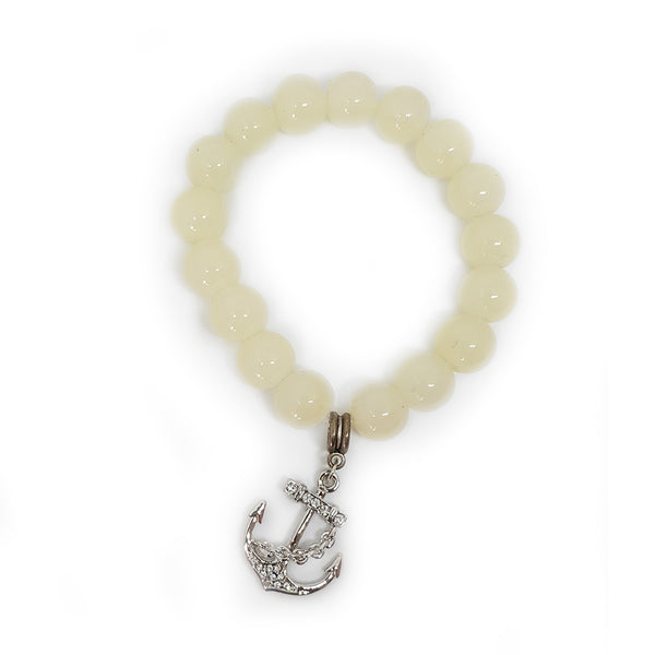 Glass Bead Charm Bracelet - Anchor