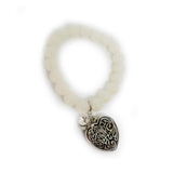Glass Bead Charm Bracelet - Heart - Bella Krystal