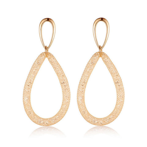 Veronica Crystal Filled Mesh Tear Drop Earrings Gold - Bella Krystal