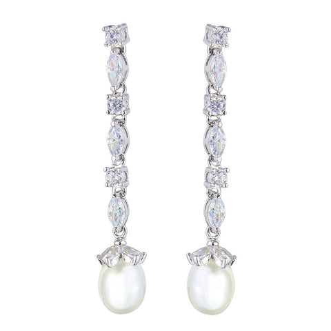 Sierra Pearl Drop Elegant Earrings - Bella Krystal