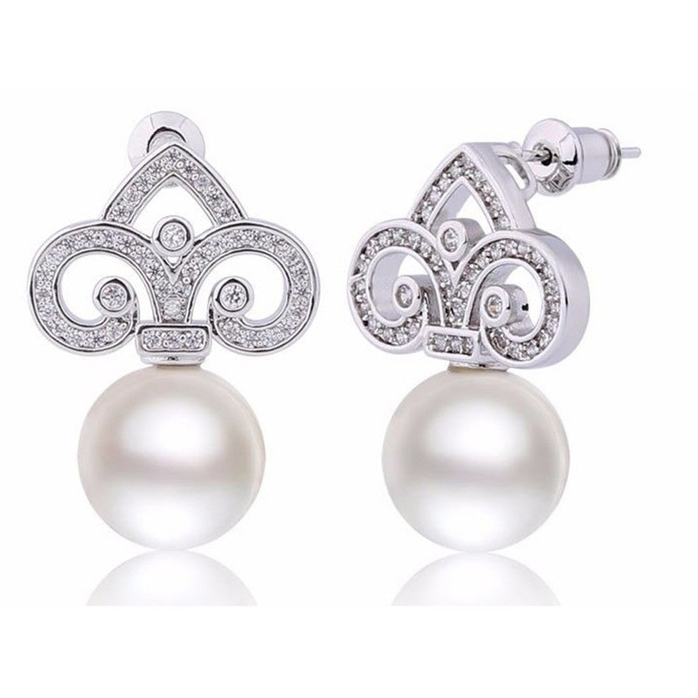 Alexandria Crystal & Pearl Fleur Earrings - Bella Krystal