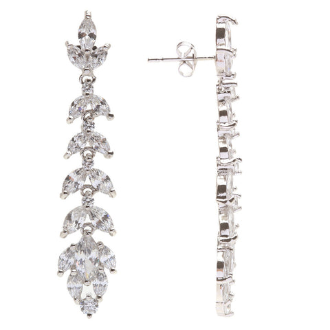 Rylee Crystal Leaf Drop Earrings - Bella Krystal