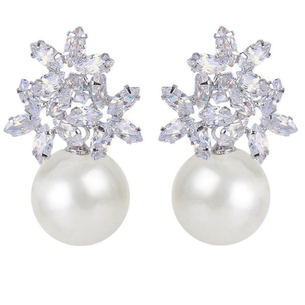 Esmeralda Pearl & Crystal Cluster Earrings - Bella Krystal