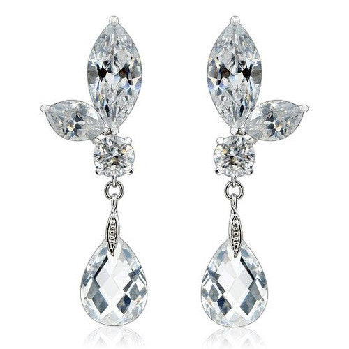 Kayla Crystal Hanging Drop Earrings - Bella Krystal
