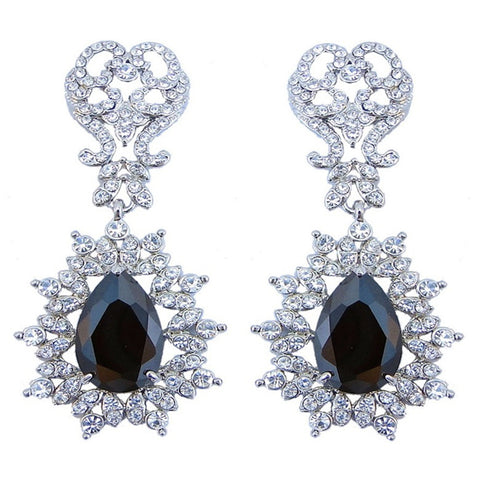 Ximena Onyx Crystal Princess Drop Earrings