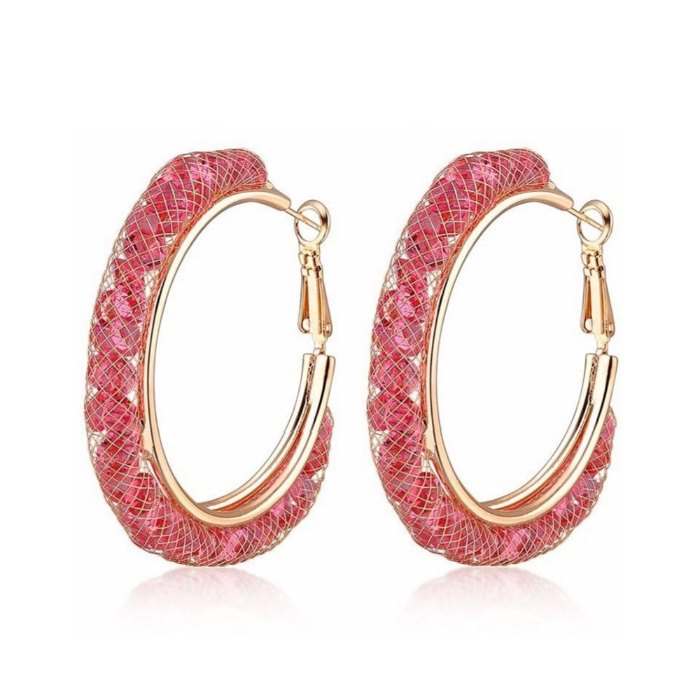 Allie Blush Crystal Filled Mesh Hoop Earrings - Bella Krystal