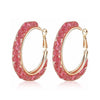 Allie Blush Crystal Filled Mesh Hoop Earrings