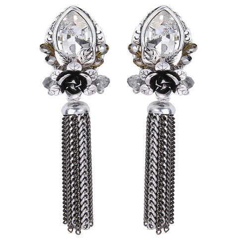 Genevieve Crystal Vintage Chain Earrings - Bella Krystal