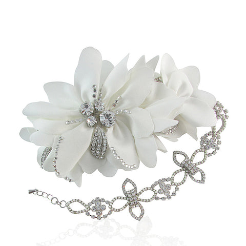 Lydia Silk Satin Crystal Bridal Hair Comb with Detachable Chain - Bella Krystal