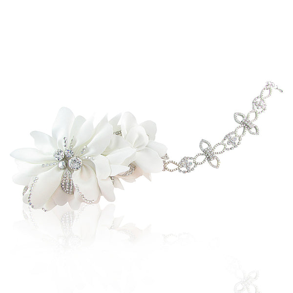 Lydia Silk Satin Swarovski Bridal Hair Comb with Detachable Chain - Bella Krystal