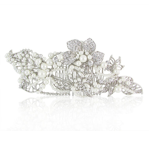 Faith Crystal & Pearl Bridal Hair Comb - Bella Krystal