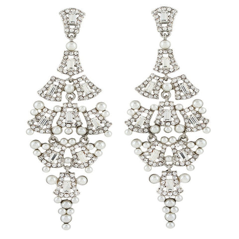 Camille Pearl & Crystal Chandalier Earrings - Bella Krystal