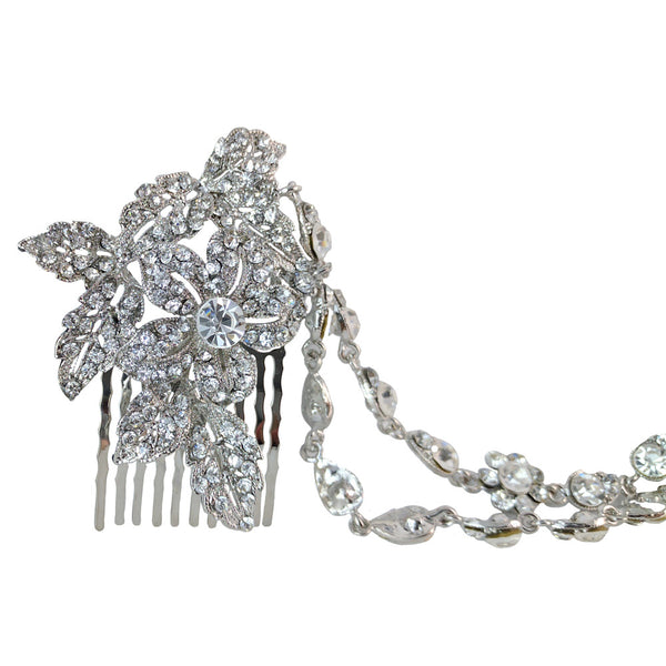 Edith Crystal Double Chained Hair Piece - Bella Krystal