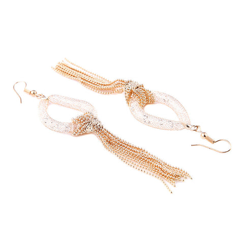 Chanel Crystal Filled Mesh Gold Tear Drop Earrings - Bella Krystal
