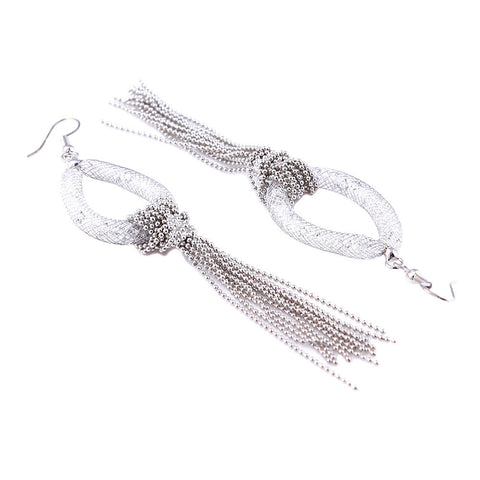 Chanel Crystal Filled Mesh Silver Tear Drop Earrings - Bella Krystal