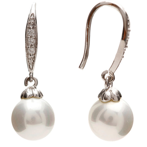 Brianna Elegant Pearl Drop Earrings - Bella Krystal