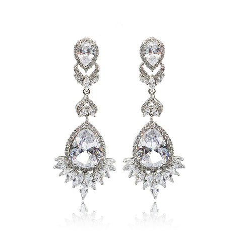 Luciana Clear Crystal Earrings in Platinum