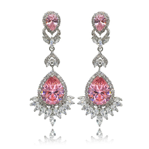 Luciana Pink Crystal Earrings in Platinum