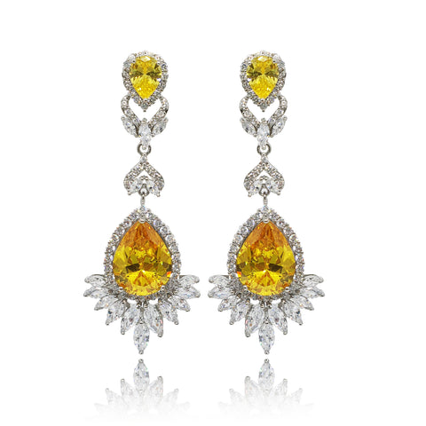 Luciana Yellow Crystal Earrings in Platinum
