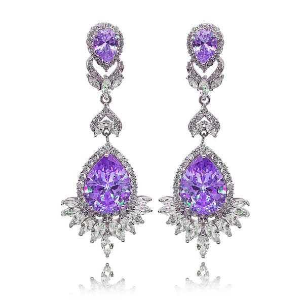Luciana Purple Crystal Earrings in Platinum