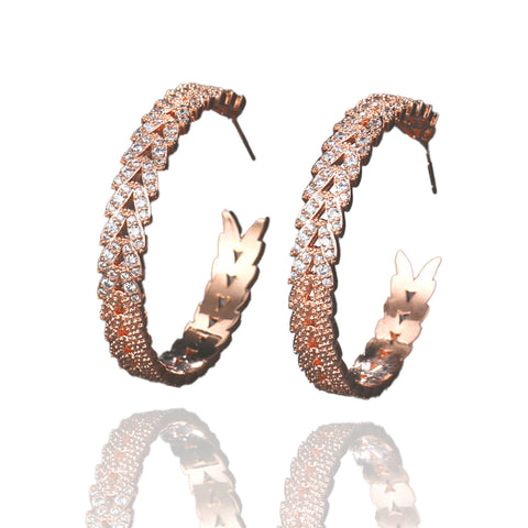 Karin Crystal & Rose Gold Hoop Earrings