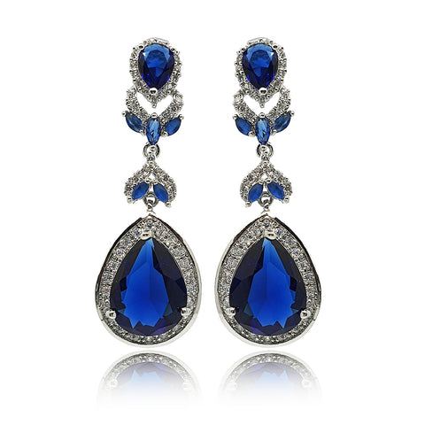 Samara Blue Crystal Drop Earrings in Platinum