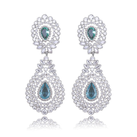Imani Luxe Sea Green Crystal & White Gold Earrings