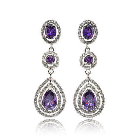 Tina Purple Crystal Drop Earrings