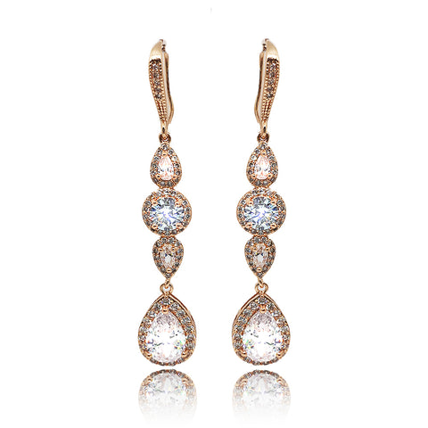 Rosalie Crystal Drop Earrings in Rose Gold