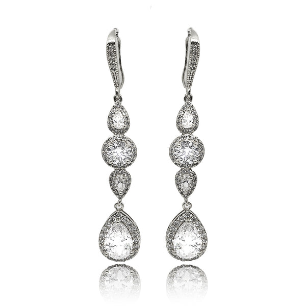 Rosalie Crystal Drop Earrings in White Gold