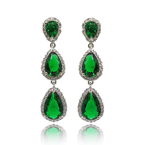 Jolene Green Crystal Drop Earrings