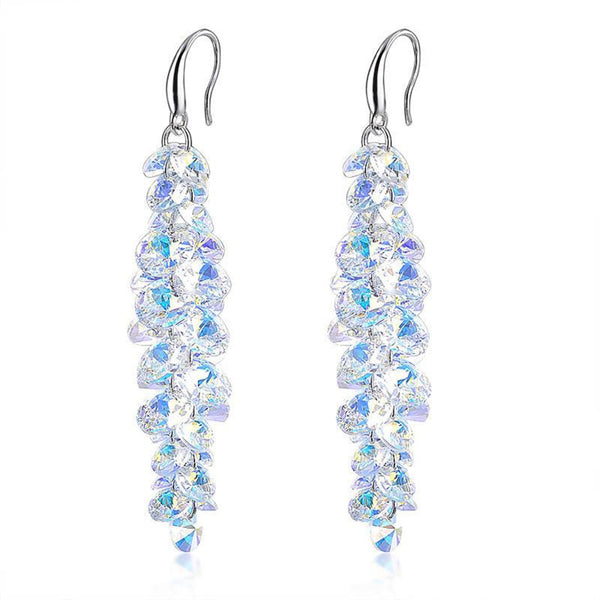 Eliza Crystal Cluster Drop Earrings - Bella Krystal