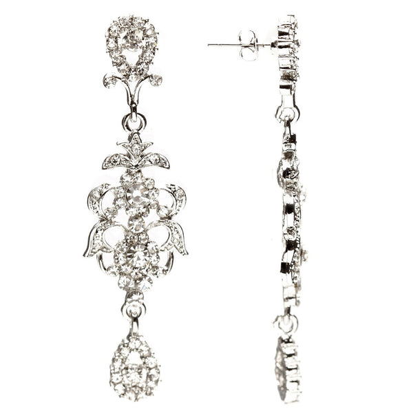 Alexis Long Crystal Chandelier Earrings - Bella Krystal