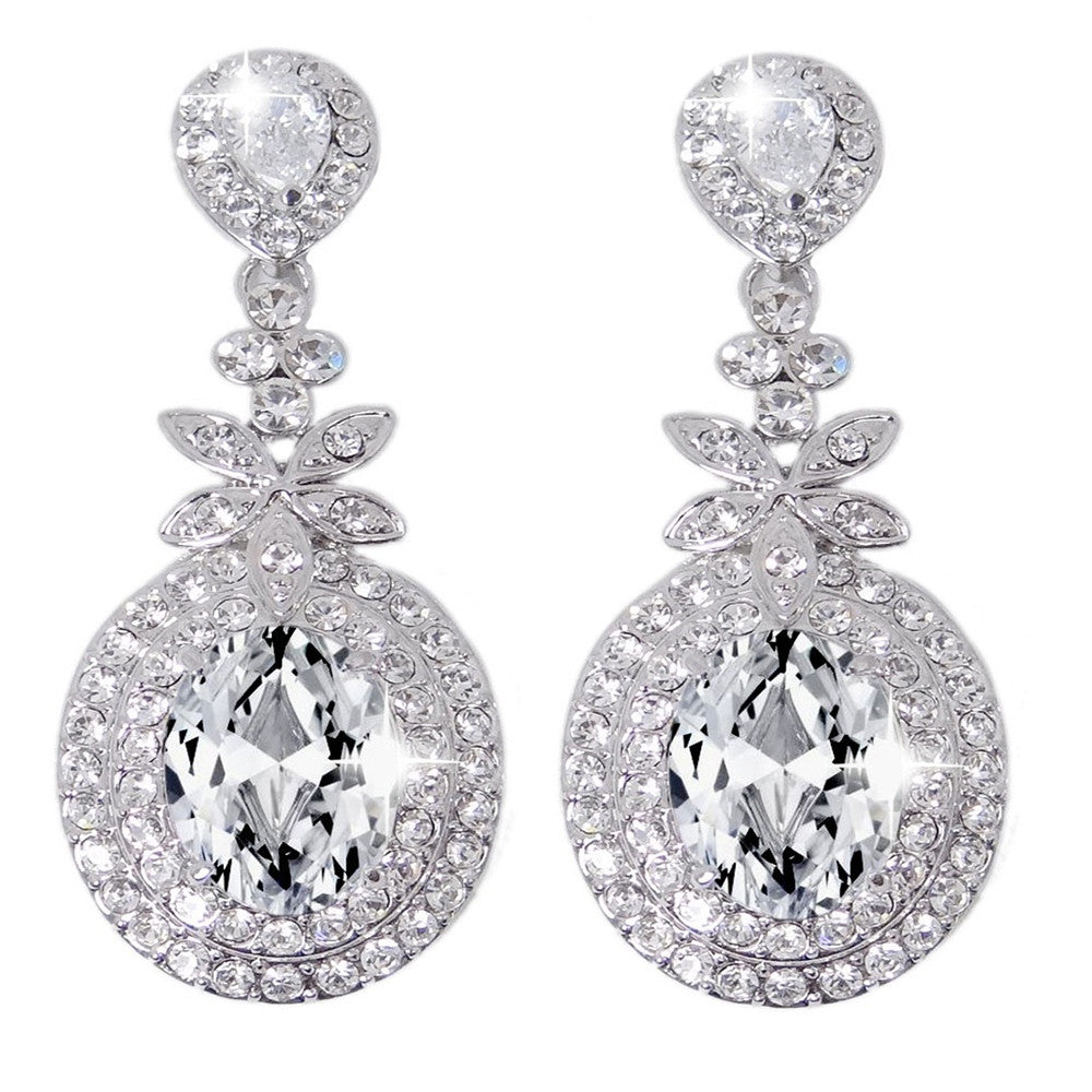 Summer Clear Crystal Elegant Drop Earrings - Bella Krystal