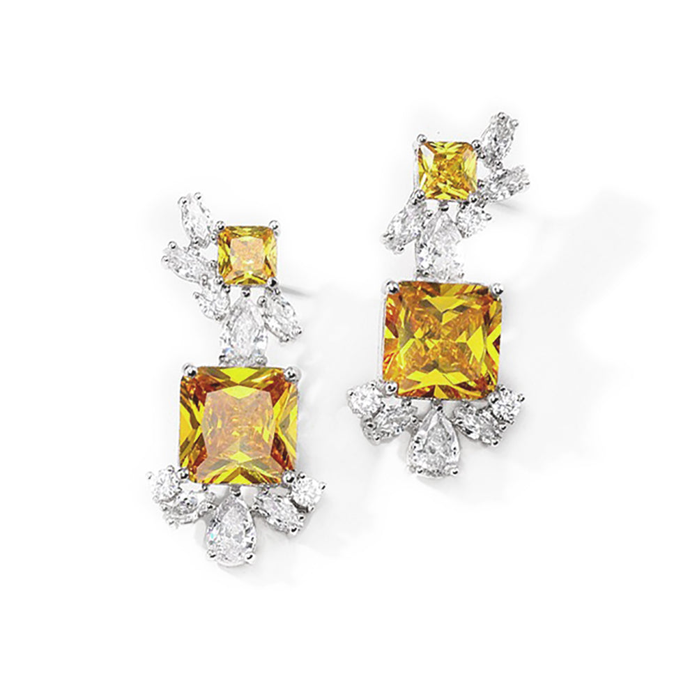 Quinn Yellow Crystal Earrings in White Gold