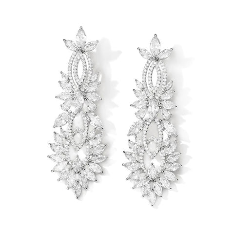 Bernadette Geometric Luxe Earrings in Platinum