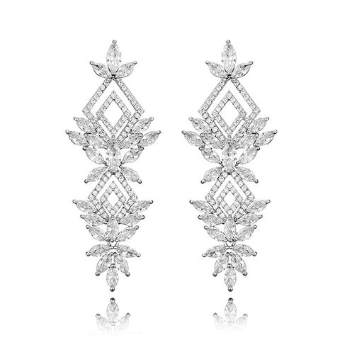 Brigitte Geometric Luxe Earrings in Platinum