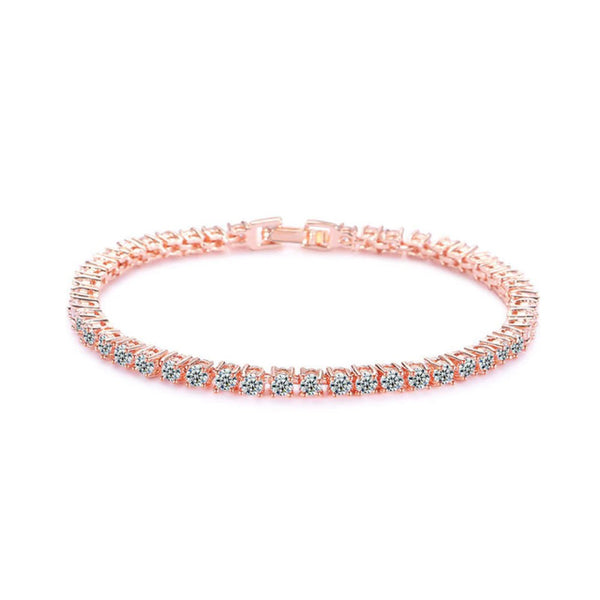 Marianne 3mm Crystal Tennis Bracelet Rose Gold - Bella Krystal