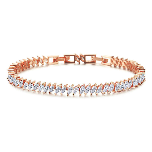 Vicki Crystal Leaf Bracelet Rose Gold - Bella Krystal