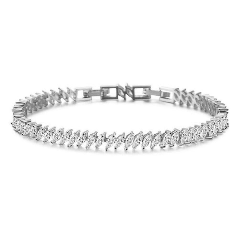 Anika Crystal Leaf Bracelet White Gold