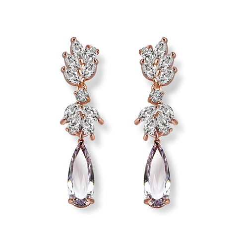 Georgia Crystal & Rose Gold Drop Earrings