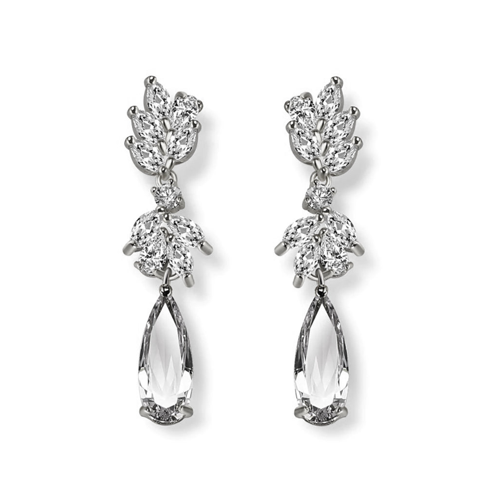 Georgia Crystal & White Gold Drop Earrings