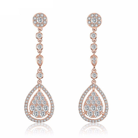 Meryl Crystal & Rose Gold Long Drop Earrings