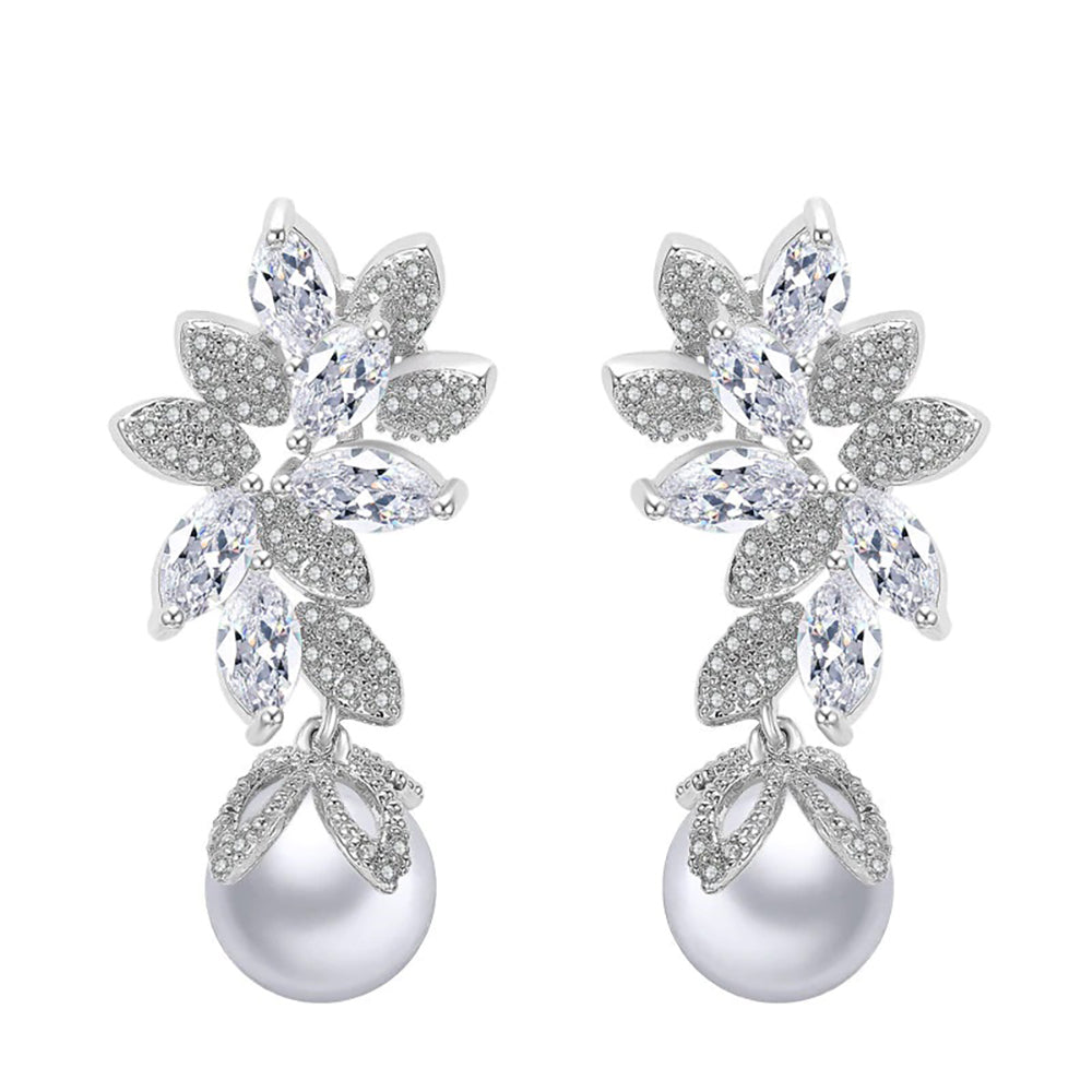Breanna Crystal Pearl Drop Earrings
