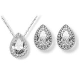 Ceres Crystal Pear Drop Necklace and Earring Set