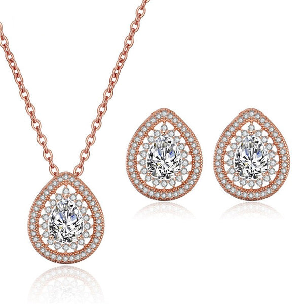 Freya Crystal Pear Drop Necklace and Earring Set