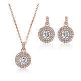 Luna Crystal Round Necklace and Earring Set