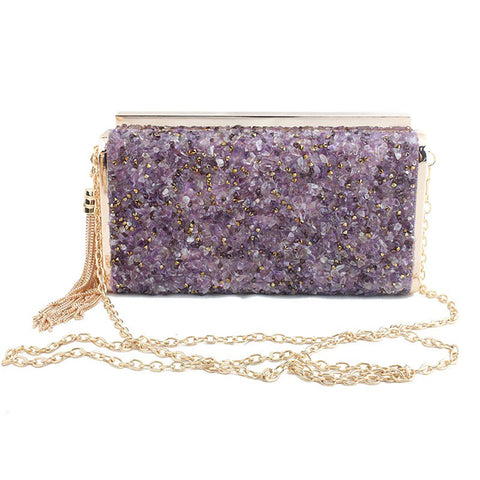 Maia Crystal Stone Clutch in Amethyst